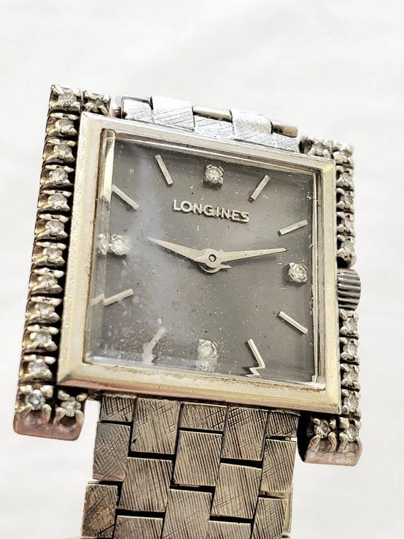 Longines 14k White Gold & Diamond Women's wristwat