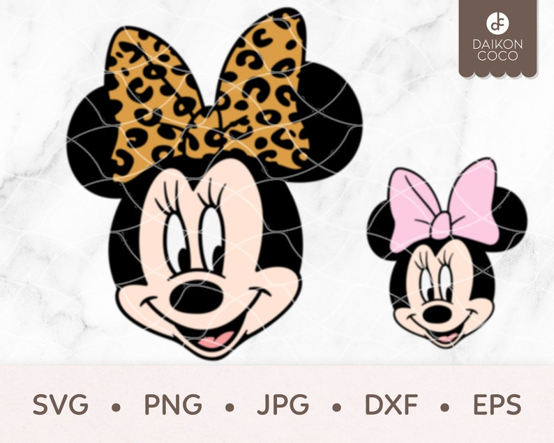 Minnie Leopard /& Solid Bow SVG svg png jpg dxf eps Cricut Silhouette Cutting Files Minnie Mouse SVG Leopard Print SVG