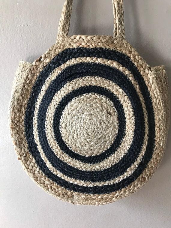 Vintage Raffia Handbag Purse Tote Bohemian Chic