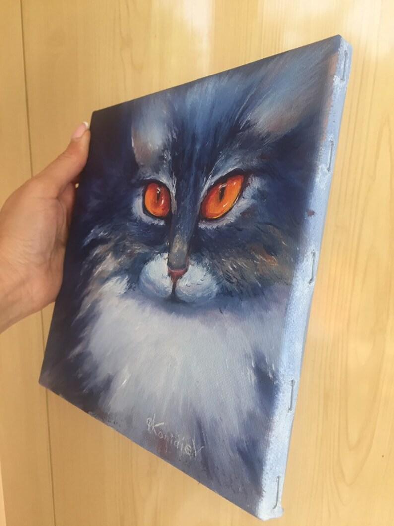 Blue cat small oil painting,oil painting original,pet  oil portrait 8\u201d8\u201d,pet  wall art,home decor,cat lover gift