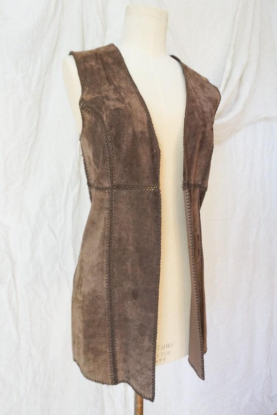 Vintage 70s Suede Boho Patchwork Vest