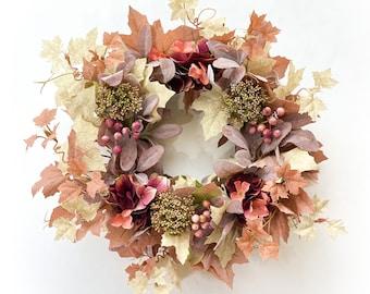 Maple Leaf Wreath /Fall Leaves Wreath /Lambs Ear Wreath /Fall Farmhouse Decor/Fall Wreath for Front Door /Fall Door Decor/Housewarming Gift