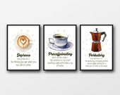 Set of 3 Coffee Definition Prints - Unframed Prints