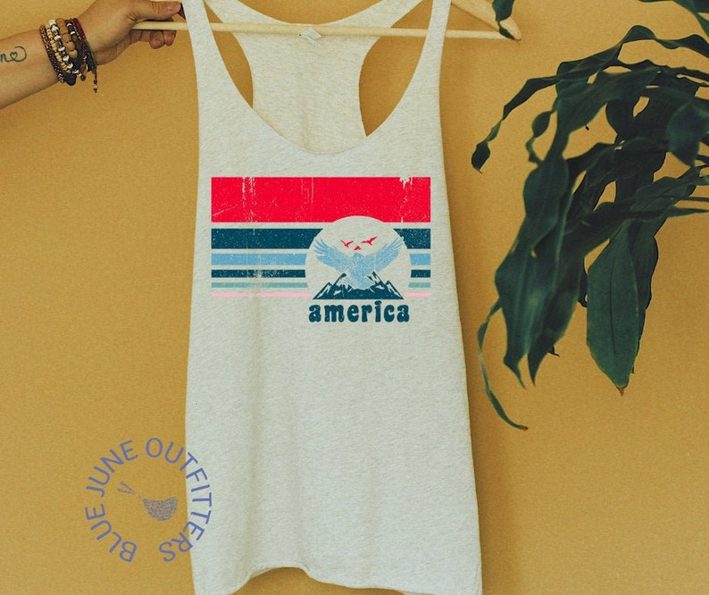 America Eagle Tank Distressed America Tank Top Independence Day Apparel Womens Racerback Throwback America Tank Top July 4th Tank