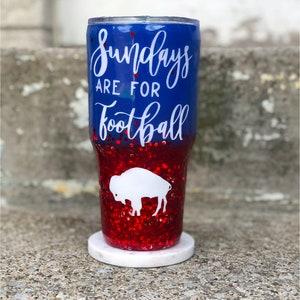 Zubaz print buffalo bills  red white blue  glitter cup  22oz tumbler  30oz tumbler  ombr\u00e9 tumbler  gift  customizable  handmade