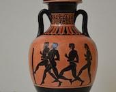 Greek Pottery, Hand made replica, Black Figure Amphora, Panathenaic Games