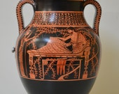 Greek Pottery, Hand made replica, Red and Black Figure Bilingual Amphora, Heracles Feasting