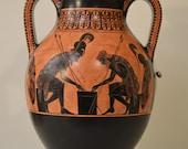 Greek Pottery, Hand made replica, Black Figure, Achilles and Ajax Playing Pessous, Trojan war, Exekias