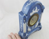 Antique Jasper Ware Mantle Clock With Enamel Dial and German Movement