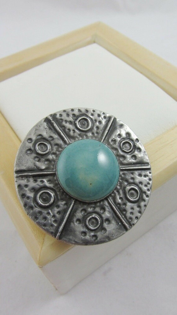 Antique Ruskin Brooch Arts and Crafts Turquoise Po