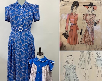 CUSTOM MAKE- Mother/Daughter Dresses - 1940s Reproduction Vintage Dress, WWII, Homefront, Swing Dance - Advance 2575 and Advance 2065