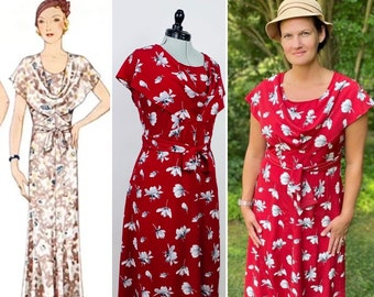 CUSTOM MAKE - Bonnie and Clyde 1930s dress - Reproduction in modern fabric from vintage pattern