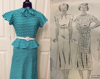 CUSTOM MAKE - 1930s - Jaunty Cotton Dress, Sports Dress, Day Dress, Gatsby. Pre-WWII, Pin-Up, Vintage Reproduction.