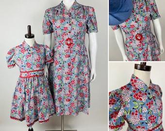CUSTOM MAKE - Mother/Daughter Dresses - 1940s Reproduction Vintage, Floral Print, WWII, Homefront.