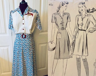 CUSTOM MAKE - 1940s Sports Dress, Bowling Dress, Athletic Dress, WWII work dress Butterick 1873
