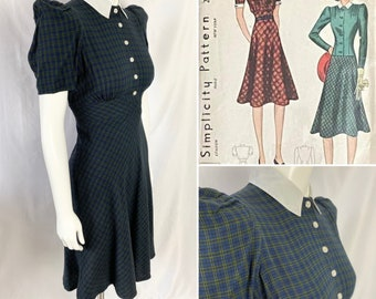 CUSTOM MAKE - Late 1930s/early 1940s Dress with Jacket.  WWII era.  Simplicity 2957