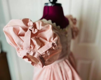 CUSTOM MAKE - Regency Gown in blush pink taffeta.  1800s Jane Austen Napoleonic Ballgown