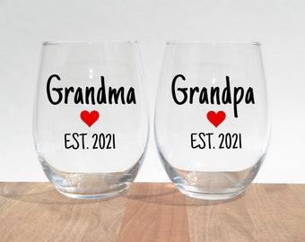 Decorative 17 Oz Glasses New Grandmother Stemless Wine Glass Gift for First Time Grandparents Grandma Est 2021