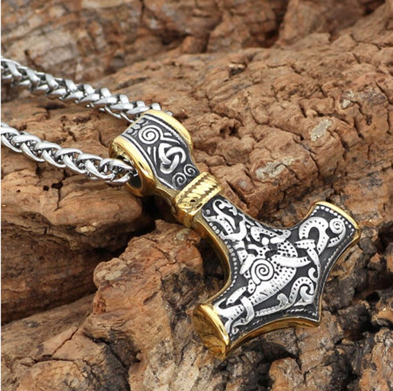 Nordic Amulet Viking Jewelry 316L Stainless Steel Thor Hammer Odin/'s Wolves Mjolnir Amulet Viking Necklace