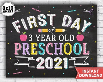 1st Day of 3 year old preschool Sign - First Day of school Sign - printable back to school photo prop - Chalkboard Instant Download