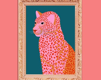 Pink Leopard Art Print | Colourful Leopard Art Print | Big Cat Wall Art | Abstract Leopard Art Print | Pink Cat Art Print | A3 Art Print