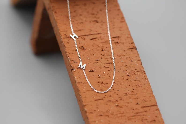 Sideways Double Initials Necklace Light Chain Love Couple Initial Necklace Personalized Mini Letter Necklace Teeny Sterling Silver