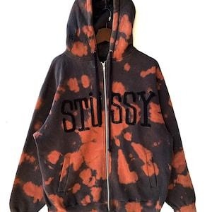 Vintage Bleach Art Stussy Sweater HoodieSize LHooded2000sFull ZipsSpell Are Pop OutNice Bleach Pattern.
