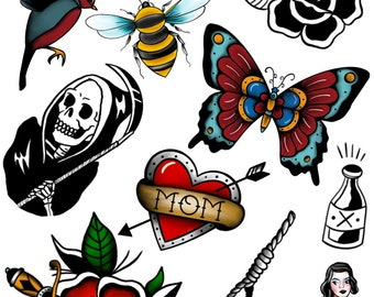 American Traditional Temporary Tattoo Pack