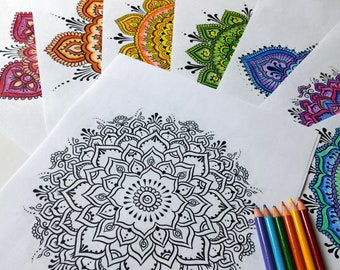 Chakra Mandala Coloring Set - Meditation Aid for Adults 7 Printable Coloring Pages Instant Download PDF
