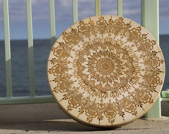 """Henna Mandala Design Added To Your Drum - up to 18"""""""