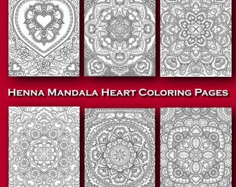 Heart Henna Style Mandala Coloring Pages for Valentine's Day Wedding Invitations Crafts