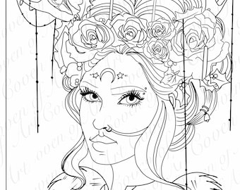 Wiccan Coloring Page Etsy