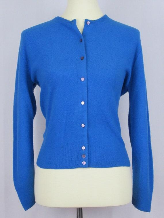 "Vintage 1950's ""Interlock"" Blue Cardigan Sweater"