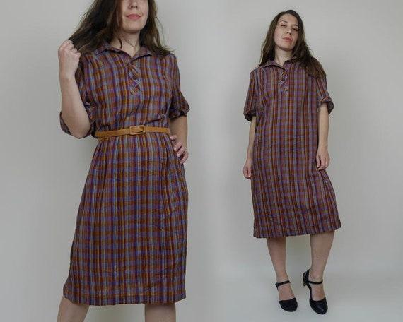 Vintage 70s Plaid Cotton Shirt Dress- size Medium