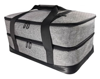 """Insulated Casserole Double Carrier for Lasagna Potluck Parties Picnic Beach XXL Size (18.1""""X 12.2""""X 9"""") and Holds 10""""X 14""""Dish"""