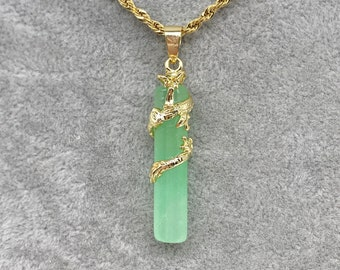 18K Gold Plated Light Green Jade Dragon Pendant Necklace with Gold Plated Rope Chain