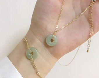 Lucky circle Donuts jade peace buckle coin jade Jewelry set bracelet , jade Necklace, earring Lucky Gift