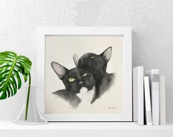 Custom (2 Cats) Watercolor Portrait Painting