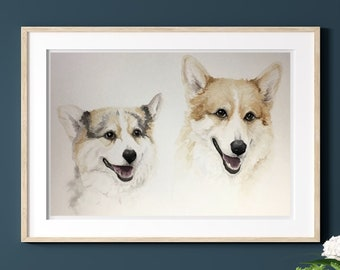 Custom (2 Dogs) Watercolor Pet Portrait Painting