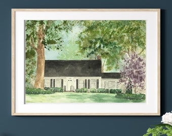 Custom House Home Watercolor Portrait Painting