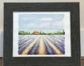 Lavender Fields of Provence Watercolor Painting (w/frame)