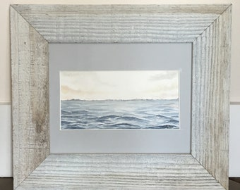 Serene Ocean Sunset Watercolor Painting with Frame