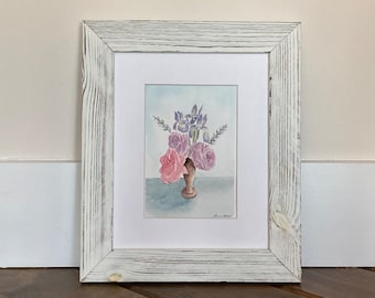 Original Watercolor Flowers Painting with Frame