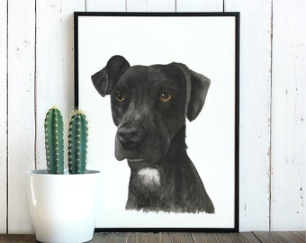 Dog Portrait Watercolor Painting (single dog)