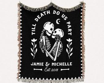 Halloween Wedding Personalized Blanket - Gothic Unique Anniversary Gift - Till Death Do Us Part - Skeleton Throw Blanket - Wedding Gift
