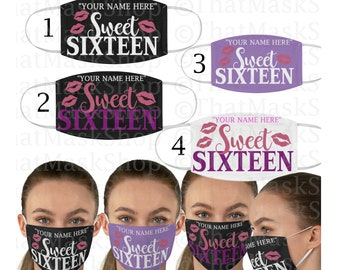 Sweet Sixteen Face Mask| Custom 16th Birthday Face Mask| Birthday Girl Mask | Gifts for Her USA Stock One size fits all Sweet 16  Personal