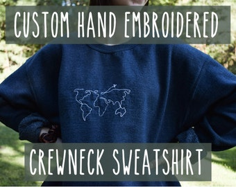 Custom Hand Embroidered College Mascot Crewneck Sweatshirt