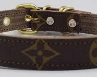 Repurposed Leather Dog Collar Handmade With Authentic LV Material