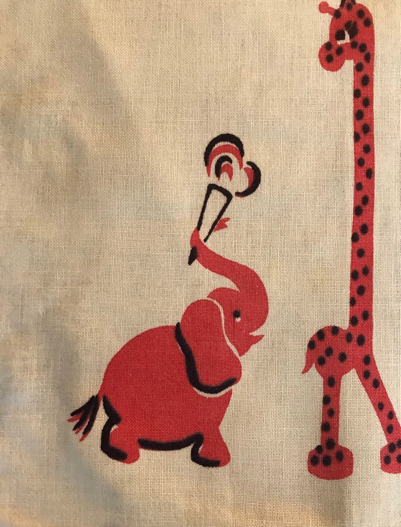 Circus Animals Vintage Linen 1950s vintage linen For a child\u2019s room decoration,placemat or framed art Charming elephant giraffe and zebra