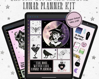 The Boss Witch Life Lunar Undated *Digital* Planner Kit w/ Notebook & Stickers  Witch Digital Planner, Witchy To Do Journal, Witchy Tools